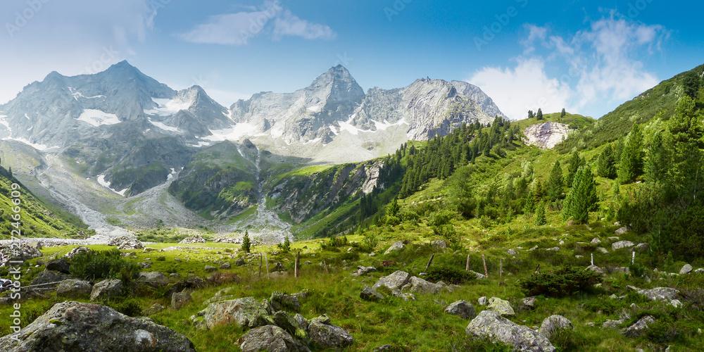 Fototapety, obrazy: Panoramabild einer Berglandschaft in den österreichischen Alpen