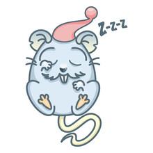 Vector Illustration Of Cartoon Rat. Cute Rat Sleeps In A Red Cap