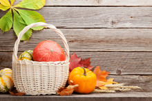 Autumn Still Life With Pumpkins And Leaves
