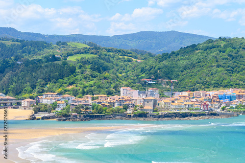 urdaibai estuary and mundaka fishing town at background, Spain