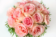 Beautiful Wedding Bouquet Of Pink Roses Close Up. The Concept Of Marriage And Love.