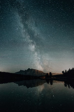 Stars And Milky Way Over Alberta Canada Lake