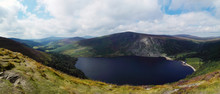 Panoramic View Of The Beautiful Colorful Landscape Of Wicklow Mountains National Park, Ireland.