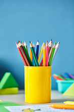 Colorful Pencils In Yellow Cup...