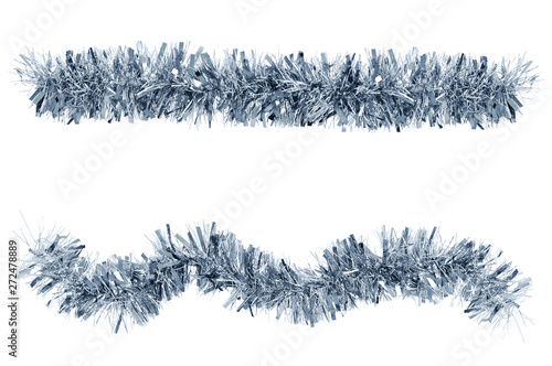 Obraz Two Christmas tinsel silver color for decoration. White isolate - fototapety do salonu