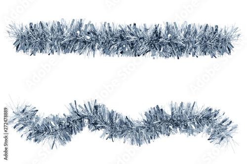 Carta da parati  Two Christmas tinsel silver color for decoration. White isolate