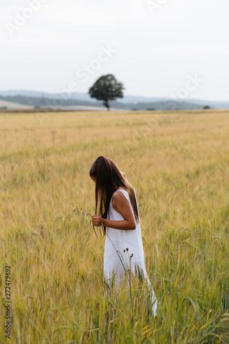Little girl in white dress is  in the wheat field