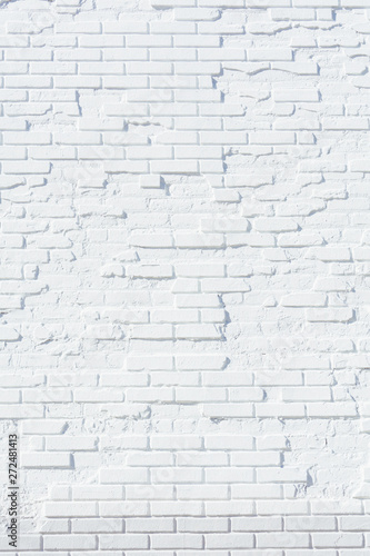 Old brick wall painted white - 272481413