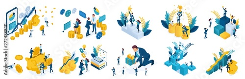 Fotografía  Isometric concept of investing and achieve success