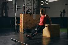 Female Exercising In Gym.