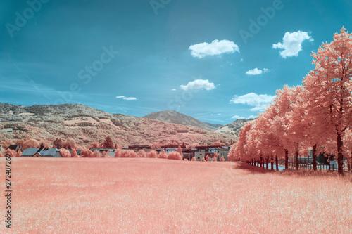 Rural landscape in the city Salzburg in spring, shot in Infrared IR