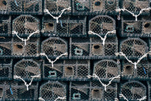 Detail Of Lobster Pots Stacked. Ilfracombe, Devon, UK.