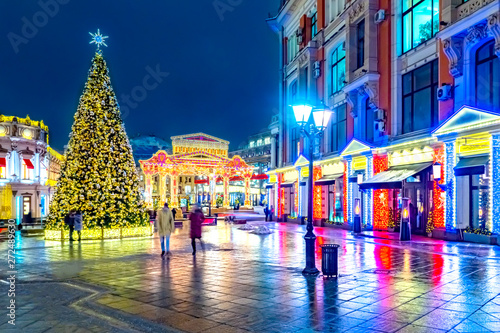Moscow. Russia. New year Moscow decoration. Christmas trees on Moscow streets. Bright Christmas signs of streets. Winter holidays festivity. New year's weekend trip in Russian capital. #272489630