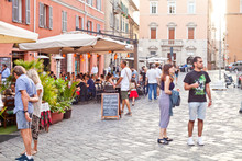 Ancona, Italy - June 8 2019: People Enjoying Summer Day And Food At Outdoor Restaurant And Resting.