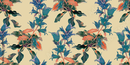 Photo Stands Pattern Bell flowers seamless pattern