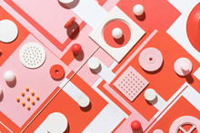 Red And Pink Abstract Geometric Composition/still Life.