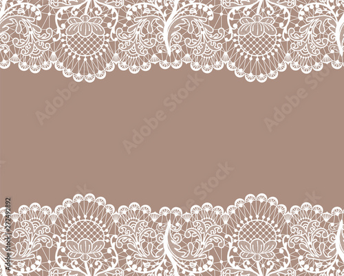 Valokuva  Horizontally seamless beige lace background with lace borders