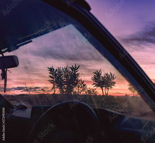 Sunset during a relaxing drive