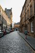 cobbled street in Glasgo at sunset