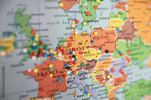 Close up of map of Europe with pins showing visitor ...