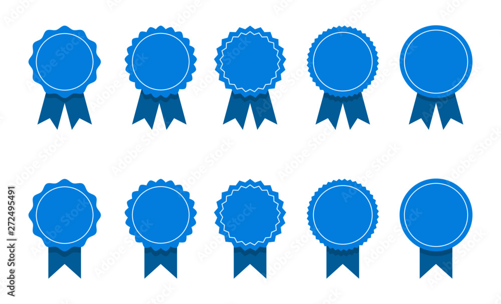 Fototapety, obrazy: blue ribbon and banner. set of premium quality and guarantee labels isolated on white background. vector illustration