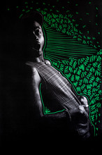 Low Res Print Of A Stylish Man With Vivid Green Drawings