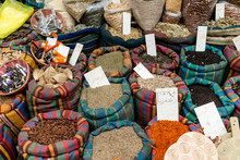 Fresh And Colorful Spices Sold In An Open Air Market While Sightseeing In Tel Aviv, Israel.