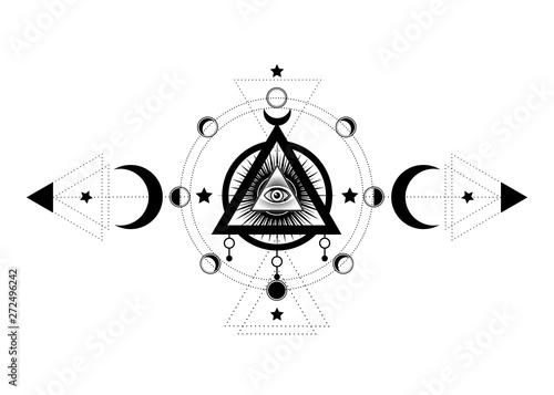 Eye Of Providence Masonic Symbol All Seeing Eye Inside Triple Moon