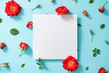 Creative Arrangement Of Red Flowers And Leaves On Pastel Blue Background Wiyh Paper Card Note. Blooming Rose Concept. Flat Lay. Minimal Nature.