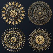 Set Of Ethnic Gold Flower Ornamental Wreath. Vector Boho Lifestyle Illustration.