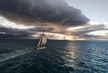 Vintage Sailing Vessel Moving ...