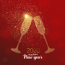 New Year 2020 Card Of Glitter ...