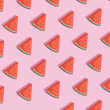 Creative Composition Made With Watermelon Slices On Pastel Pink Background. Summer Fruit Pattern.