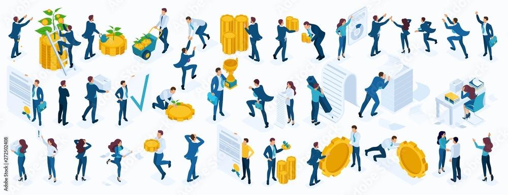 Fototapeta Large Isometric set of business people, businessmen, businesswoman, employees, investors, Directors, accountants, managers