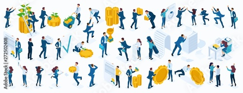 Large Isometric set of business people, businessmen, businesswoman, employees, investors, Directors, accountants, managers - 272502408