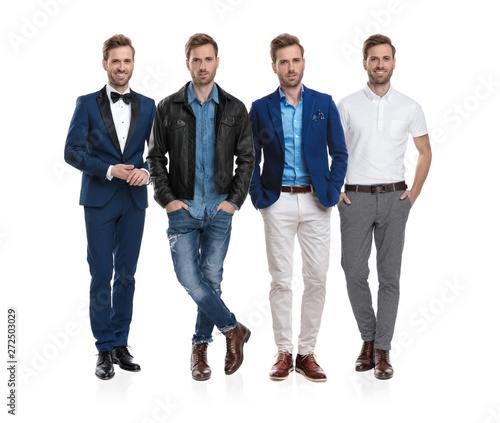 Collage image of the same positive casual man posing Wallpaper Mural