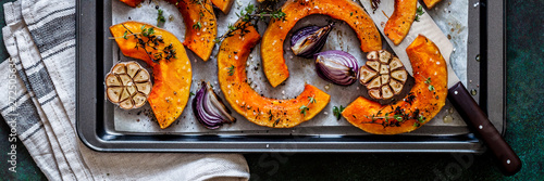 Roasted Squash Slices with Red Onions Canvas Print
