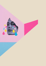Collage Of A Woman's Face On A Vivid Background Of Solid Colours With Paper Tears