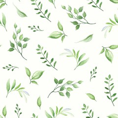 FototapetaSeamless pattern with green leaves, vector illustration in vintage watercolor style.