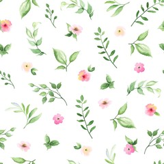 FototapetaSeamless floral pattern with small flowers and green leaves on white background. Vector illustration in watercolor style.