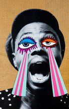 3d Collage Of A Man With Striped Paper Coming From His Eyes