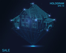 Hologram House. Holographic Projection Home For Sale. Flickering Energy Flux Of Particles. Scientific Design Sale.