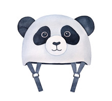 Funny Black And White Panda Shaped Helmet For Kids. For Outdoor Sports Like Cycling, Scooter Riding, Roller Skating, Skateboarding. Hand Drawn Watercolour Graphic Painting, Cutout Clip Art Element.