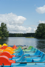 Colorful Pedalos On A Sunny Day.