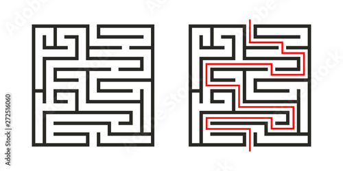 Education logic game labyrinth for kids Canvas Print