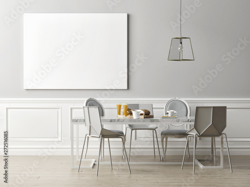Poster in dining room, Scandinavian style 3d rendering, 3d illustration Fototapet