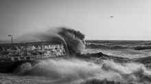 A A Monochrome Stormy Sea With Crashing Waves