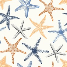 Hand Drawn Seamless Pattern With Various Starfishes Pastel Colors, Vector Illustration On Beige Background.