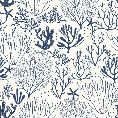 Leinwand Poster Seamless hand drawn pattern with coral reef and starfishes