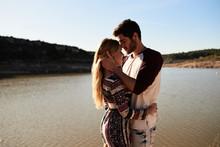 Boyfriend Hugging Tenderly His...